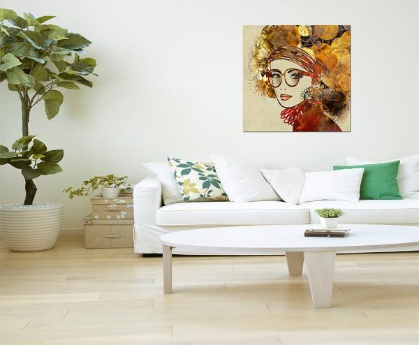 80x80cm Frau Mädchen Gesicht Malerei abstrakt