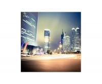 80x80cm Shanghai China Wolkenkratzer Licht Nacht