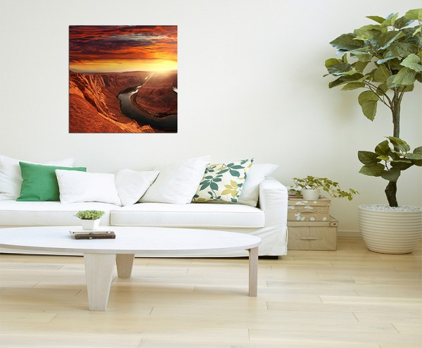 80x80cm Horse Shoe Bend Arizona Berge Fluss