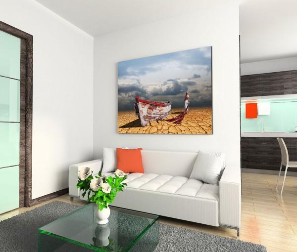 120x80cm Wandbild Malerei Steinwüste Holzboot Frau Wolkenhimmel