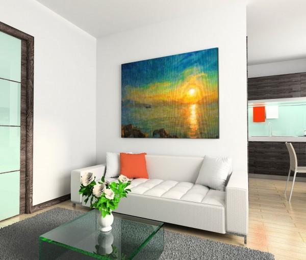 120x80cm Wandbild Ölmalerei Meer Himmel Sonnenuntergang