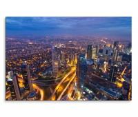 120x80cm Wandbild Istanbul Wolkenkratzer Straßen Verkehr Nacht Lichter