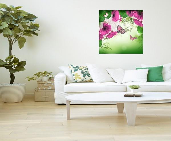 80x80cm Gerbera Gänseblümchen Schmetterlinge