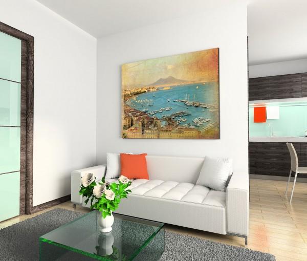 120x80cm Wandbild Neapel Meer Hafen Boote Vesuv Berg Sommer