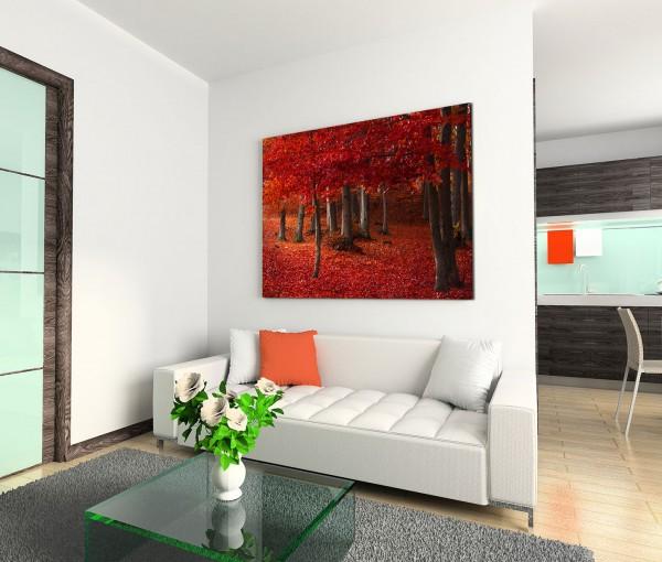 120x80cm Wandbild Wald Herbst Blätter Laubboden