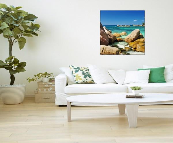 80x80cm Seychellen Strand Felsen Meer