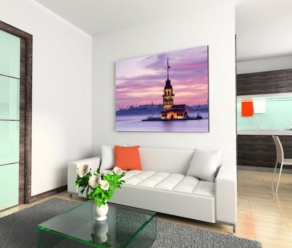 120x80cm Wandbild Istanbul Bosporus Jungfrauenturm