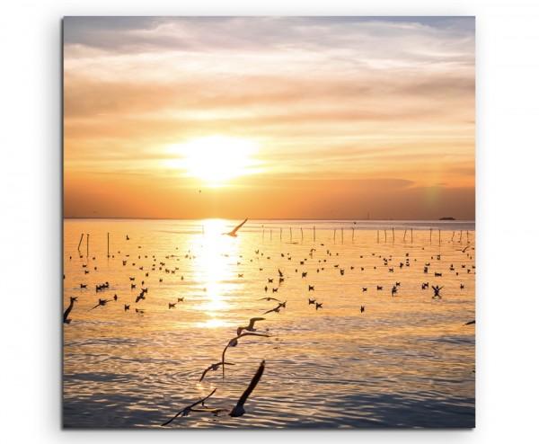 Landschaftsfotografie – Möwen am Meer bei Sonnenuntergang auf Leinwand exklusives Wandbild moderne