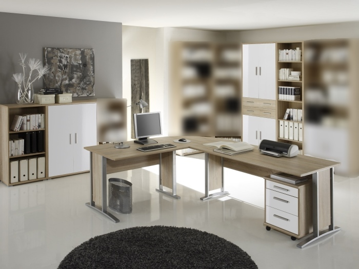 b ro office smart 6 teilig sonoma wei m bel. Black Bedroom Furniture Sets. Home Design Ideas