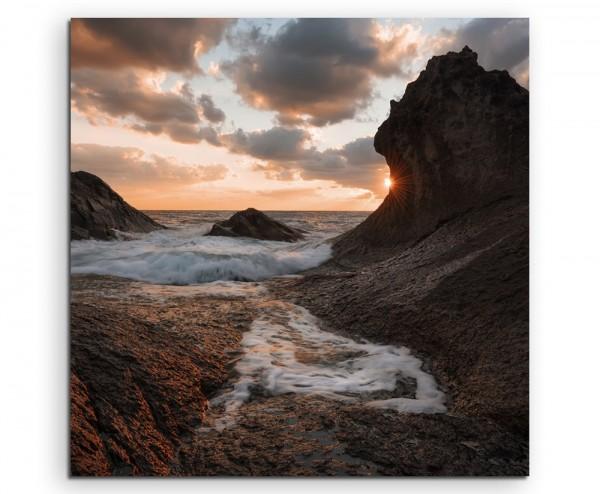 Landschaftsfotografie – Sonnenaufgang mit Wellen in Rezovo, Bulgarien auf Leinwand exklusives Wandb