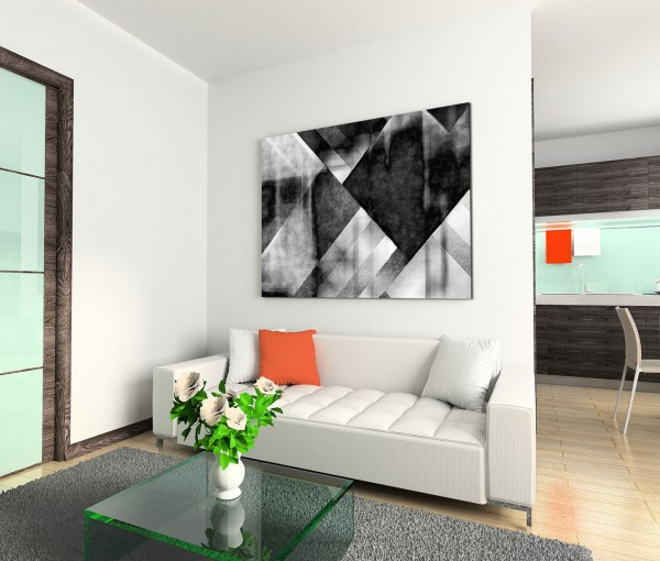 120x80cm Wandbild Hintergrund Geometrie abstrakt schwarz weiß