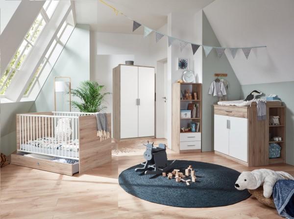 Babyzimmer Kiel 7 teilig in Weiß und Eiche San Remo