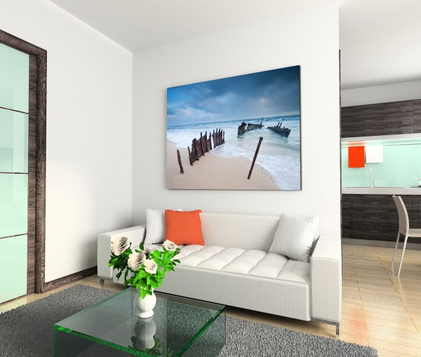 120x80cm Wandbild Australien Strand Meer Wrack Dämmerung