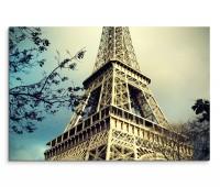 120x80cm Wandbild Paris Eiffelturm Bäume vintage