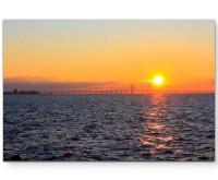 Sonnenuntergang von Schweden nach Dänemark - Leinwandbild