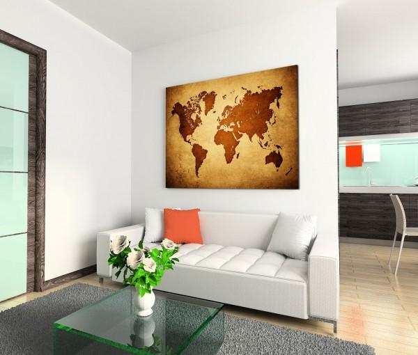 120x80cm Wandbild Weltkarte braun beige
