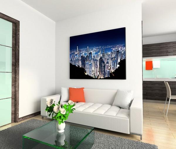 120x80cm Wandbild Hongkong Peak Wolkenkratzer Nacht Lichter