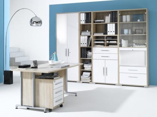Büro Office System II Sonoma- Weiß 6tlg