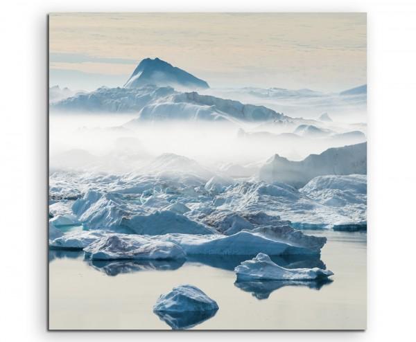 Landschaftsfotografie – Gestrandete Eisberge, Grönland auf Leinwand exklusives Wandbild moderne Foto