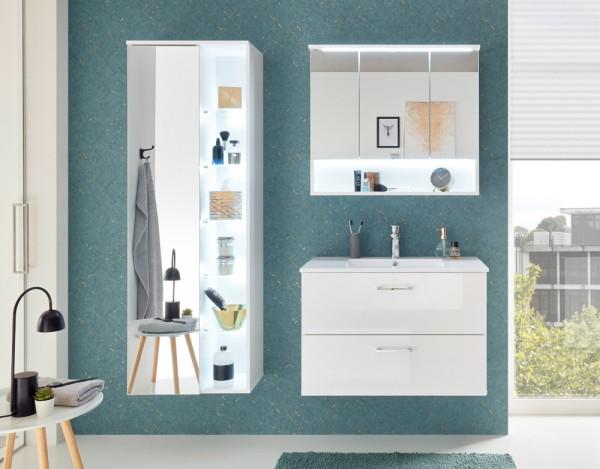 Badezimmer Best 3 Teile in Weiß Hochglanz mit LED Komplettset mit Waschbeckenunterschrank inklusive Becken, Spiegelschrank, großem Hängeschrank und Beleuchtung