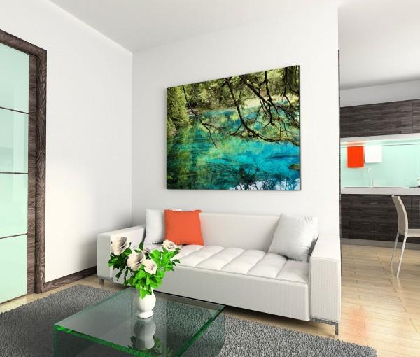 120x80cm Wandbild China See Bäume