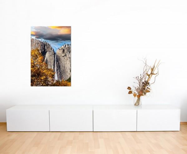120x80cm Yosemite Felsen Wasserfall Wolken Herbst