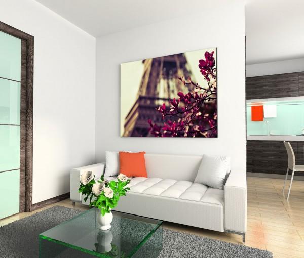 120x80cm Wandbild Paris Eiffelturm Blüten vintage
