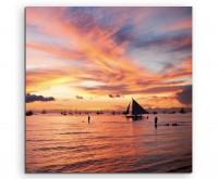 Landschaftsfotografie – Segelboot in Boracay, Philippinen auf Leinwand