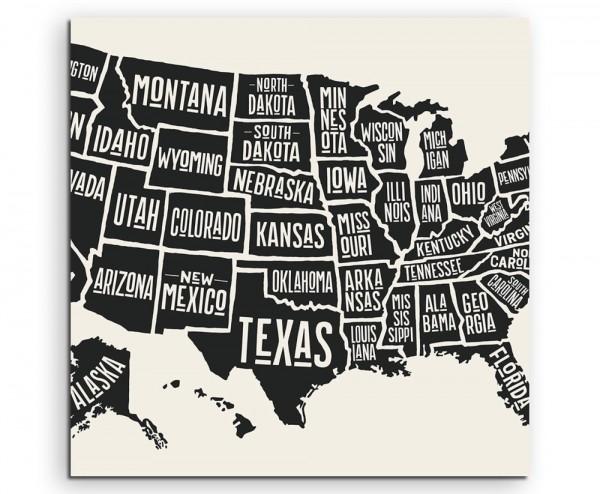 Vintage Illustration der USA mit Staaten auf Leinwand exklusives Wandbild moderne Fotografie für ihr