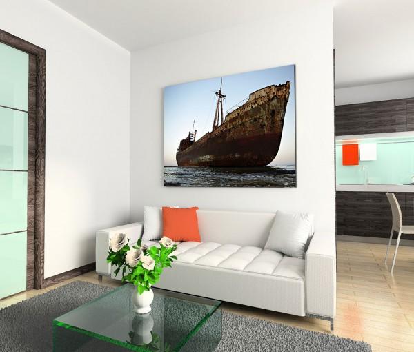 120x80cm Wandbild Meer altes Schiff Sandbank gestrandet