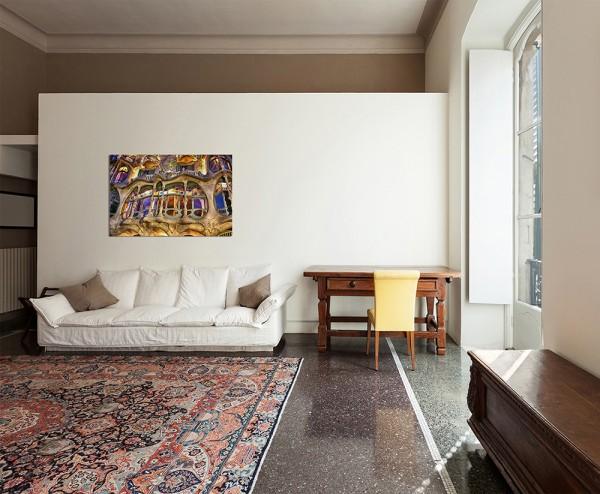 120x80cm Barcelona Casa Batlló Gebäude Fenster