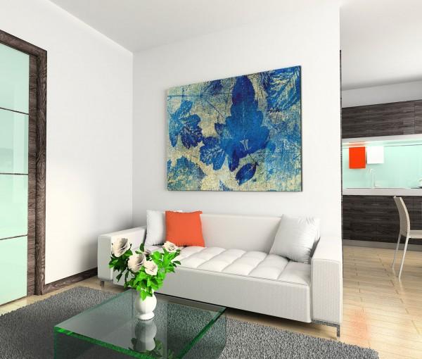 120x80cm Wandbild Hintergrund Blätter abstrakt blau beige