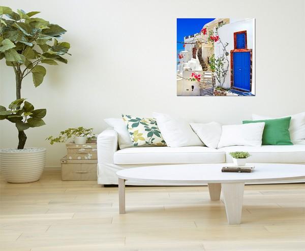80x80cm Santorini Haus Blumen mediterran