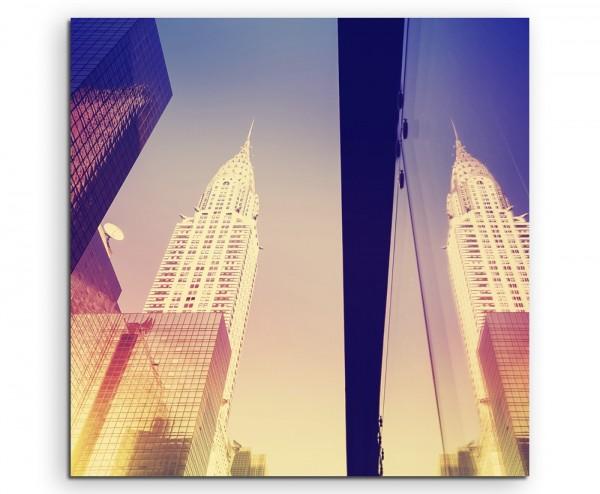 Architekturfotografie – Gespiegelte Wolkenkratzer, NYC, USA auf Leinwand