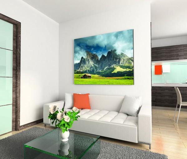 120x80cm Wandbild Alpen Berge Wiesen Holzhütte Wolken