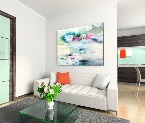 120x80cm Wandbild Blüten Blumen Hintergrund abstrakt