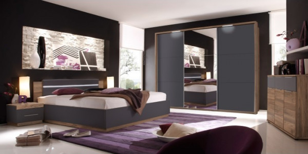 schlafzimmer dandy schwarz mit kommode m bel. Black Bedroom Furniture Sets. Home Design Ideas