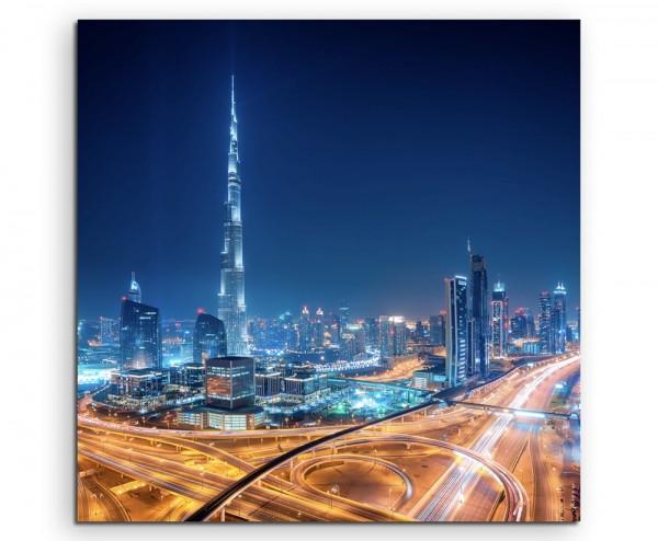 Urbane Fotografie – Downtown Skyline, Dubai, UAE auf Leinwand