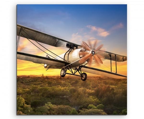 Landschaftsfotografie – fliegen flugzeug technik reisen verreisen reise bei Sonnenaufgang auf Leinwa