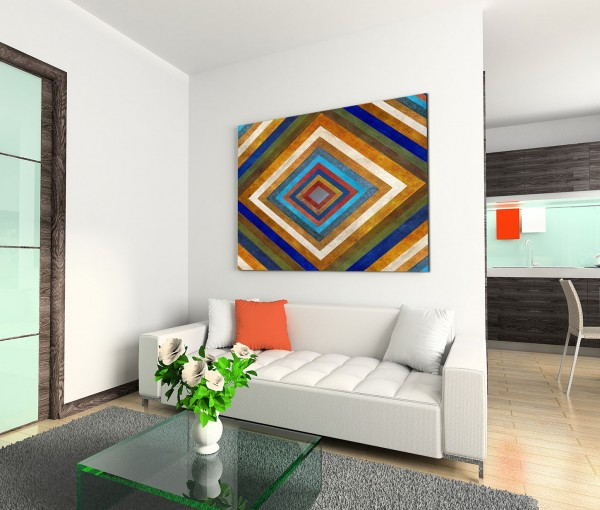 120x80cm Wandbild Hintergrund Geometrie Tunnel abstrakt bunt