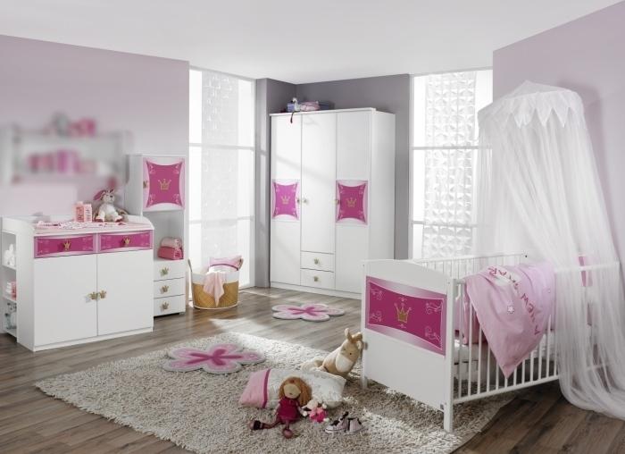 Babyzimmer Kate von RAUCHmöbel in Weiß- Rosa 7 teiliges Megaset