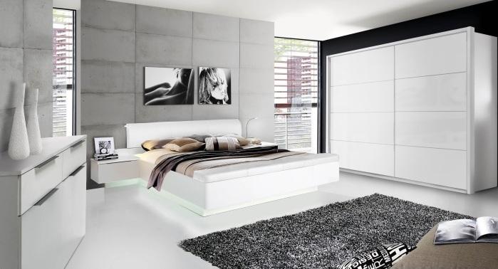 Schlafzimmer Starlet in Weiß von Forte mit Schrank, Bett, Kommode, inklusive Beleuchtung