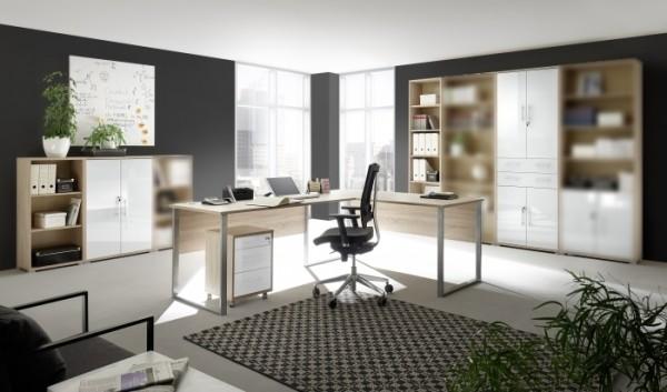 Megaset Büromöbel Office Luxo 6 teilig Eiche Sonoma Weißglas