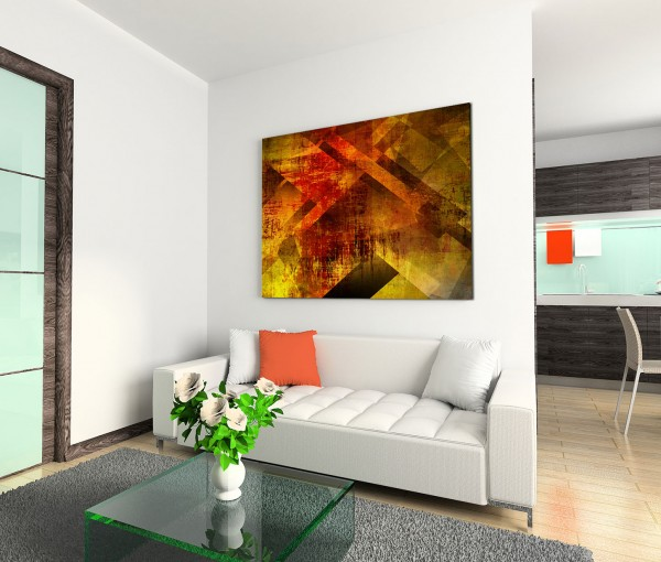 120x80cm Wandbild Geometrie Hintergrund abstrakt rot braun gelb