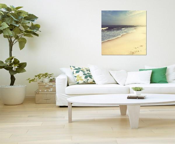 80x80cm Strand Meer Sand Wolkenschleier
