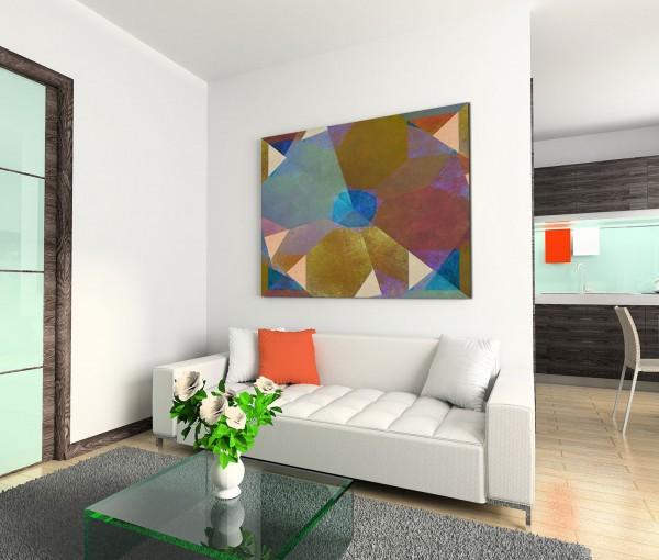 120x80cm Wandbild Geometrie Hintergrund abstrakt braun blau grün beige