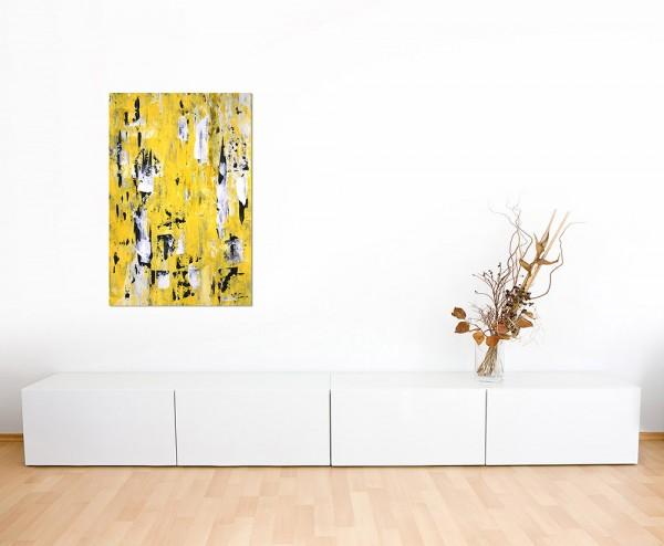 120x80cm Malerei abstrakt Kunst gelb/schwarz