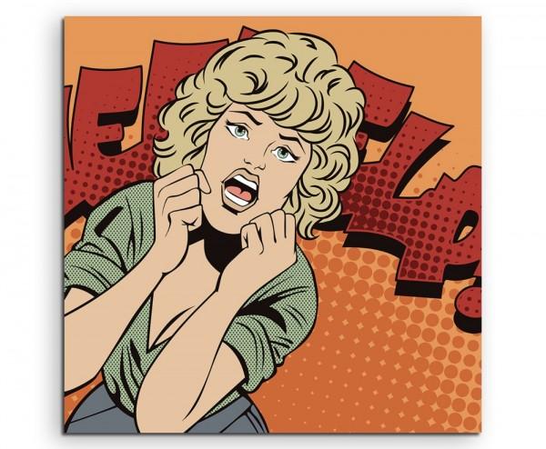 Schreiende Frau im Comic Stil – Help! auf Leinwand