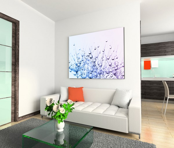 120x80cm Wandbild Pusteblumen Wassertropfen Nahaufnahme abstrakt