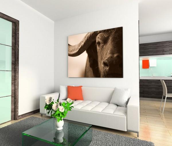 120x80cm Wandbild Wasserbüffel Nahaufnahme Gesicht Horn